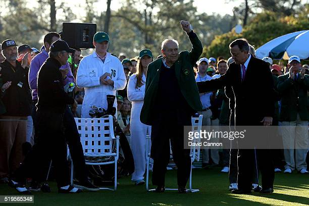 Honorary starter Arnold Palmer is introduced as Gary Player looks on during the ceremonial tee off to start the first round of the 2016 Masters...