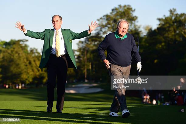 Honorary starter Jack Nicklaus and Chairman of Augusta National William Porter Payne attend the ceremonial tee off to start the first round of the...
