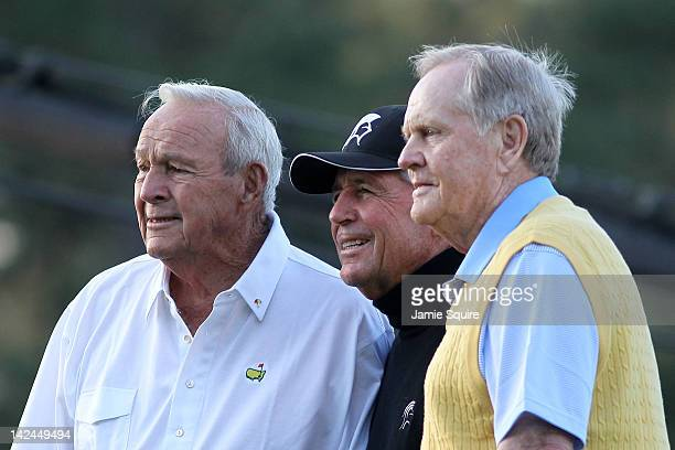 Honorary starters Arnold Palmer Gary Player of South Africa and Jack Nicklaus pose on the first tee box at the start of the first round of the 2012...