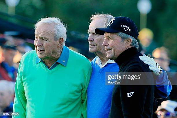 Honorary starters Arnold Palmer Jack Nicklaus and Gary Player pose on the first tee at the start of the first round of the 2014 Masters Tournament at...