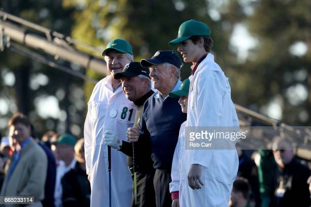 Honorary starters Gary Player and Jack Nicklaus take part in the first tee ceremony prior to the first round of the 2017 Masters Tournament at...