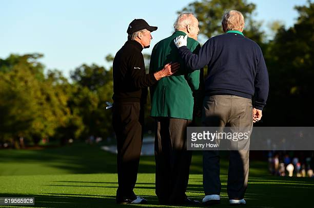 Honorary starters Jack Nicklaus Arnold Palmer and Gary Player attend the ceremonial tee off to start the first round of the 2016 Masters Tournament...