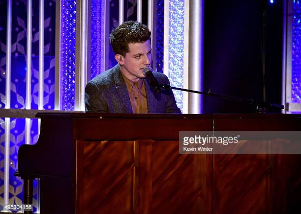"""Honore Charlie Puth corecipient of the Hollywood Song Award for """"See You Again"""" from the 'Furious 7' soundtrack performs onstage during the 19th..."""
