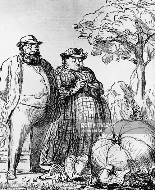 Honore Daumier *26.02.1808-11.02.1879+Maler, Karikaturist, Bildhauer, FrankreichZeichnung: Der König der Riesenkürbisse nimmt die Huldigung seiner...