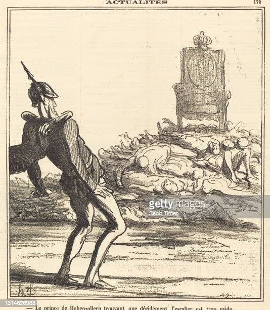 Honore Daumier, , French, 1808 - 1879, Le Prince de Hohenzollern... Gillotype on newsprint.