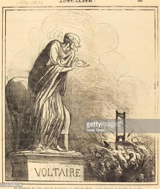 Honore Daumier , Le defenseur de Calas console gillotype on newsprint.