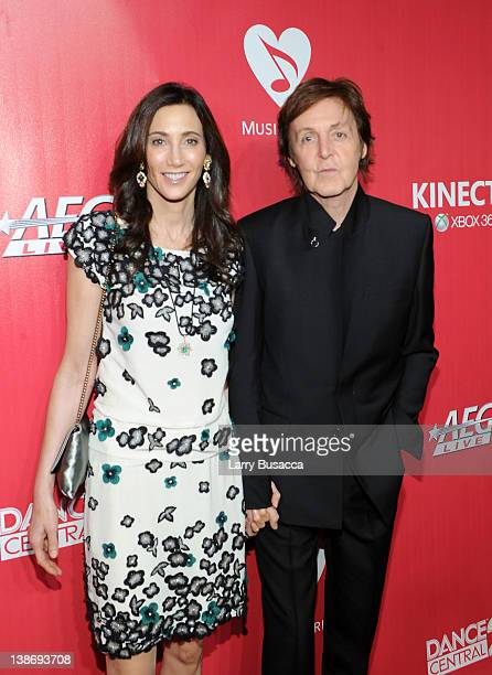 Honore Sir Paul Mcartney and Nancy Shevell arrive at the 2012 MusiCares Person of the Year Tribute to Paul McCartney held at the Los Angeles...