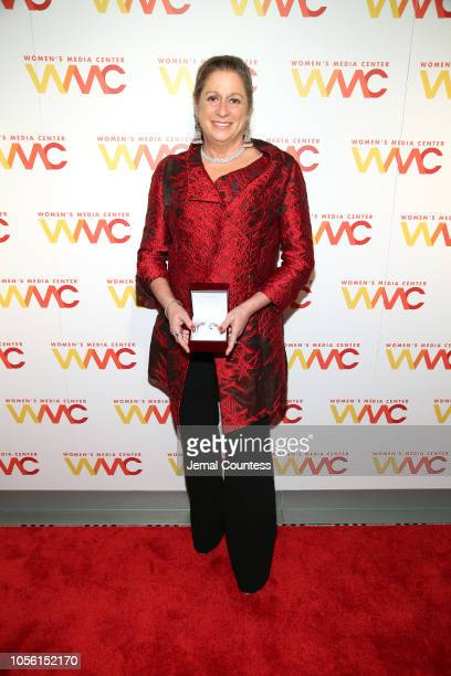 Honoree Abigail Disney poses with her WMC Mitchell Lifetime Achievement Award during the 2018 Women's Media Awards at Capitale on November 1 2018 in...