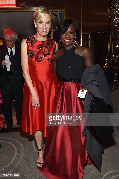 Honoree activist Cecile Richards and Viola Davis attend the 2015 Glamour Women of The Year Awards dinner hosted by Cindi Leive at The Rainbow Room on...