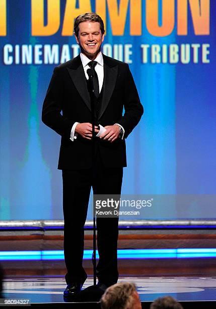 Honoree actor Matt Damon speaks onstage during American Cinematheque 24th Annual Award Presentation To Matt Damon at The Beverly Hilton hotel on...