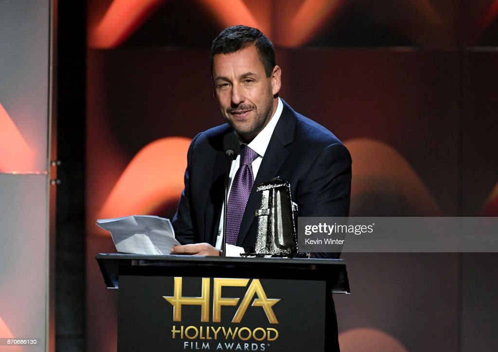 Honoree Adam Sandler accepts the Hollywood Comedy Award for 'The Meyerowitz Stories' onstage during the 21st Annual Hollywood Film Awards at The Beverly Hilton Hotel on November 5, 2017 in Beverly Hills, California.