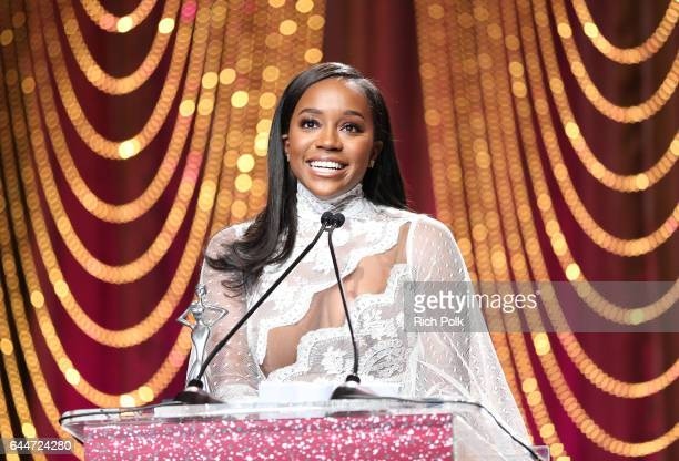 Honoree Aja Naomi King accepts the 'Lincoln Shining Star Award' onstage at Essence Black Women in Hollywood Awards at the Beverly Wilshire Four...