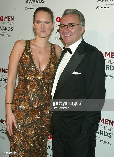 Honoree Alain Ducasse guest Gwenaelle Gueguen during 2002 GQ Men of the Year Awards Press Room at Hammerstein Ballroom in New York City New York...