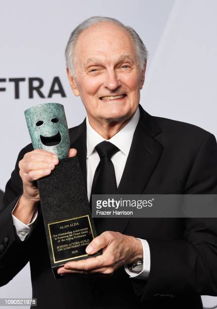 Honoree Alan Alda recipient of the SAG Life Achievement Award poses in the press room during the 25th Annual Screen Actors Guild Awards at The Shrine...