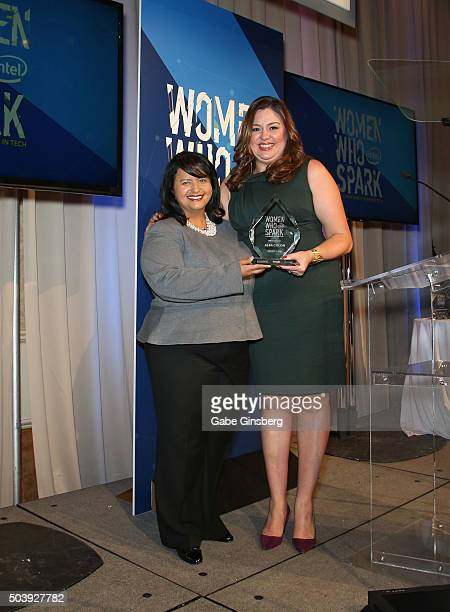 Honoree Alba Colon and Publisher of People en Espanol Monique Manso pose during the Women Who Spark Awards presented by Intel on January 7 2016 in...