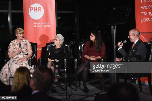 Honoree Alex Wubbels RN Dr Norma Price Dr Mona HannaAttisha and American Civil Liberties Union Executive Director Anthony D Romero speak onstage at...