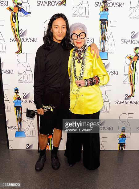 Honoree Alexander Wang poses backstage with Iris Apfel at the 2011 CFDA Fashion Awards at Alice Tully Hall Lincoln Center on June 6 2011 in New York...