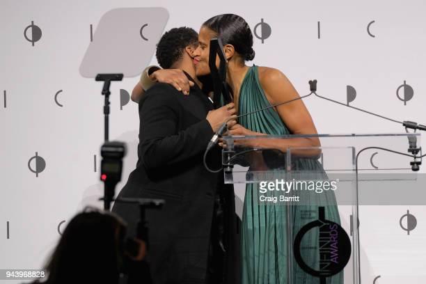 Honoree Alexandra Bell accepts the Applied award from Isolde Brielmaier onstage during the International Center Of Photography's 2018 Infinity Awards...