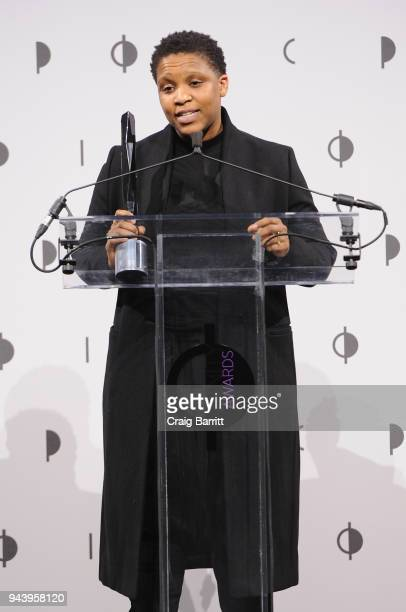 Honoree Alexandra Bell speaks onstage during the International Center Of Photography's 2018 Infinity Awards on April 9 2018 in New York City