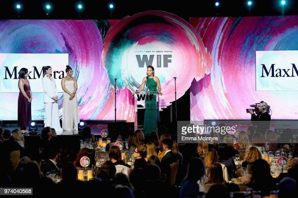 Honoree Alexandra Shipp accepts The Women In Film Max Mara Face of the Future Award from Regina Hall and Max Mara Vice President US Retail and Global...