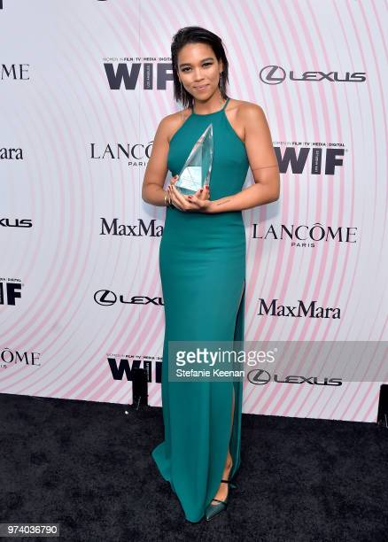 Honoree Alexandra Shipp poses with The Women In Film Max Mara Face of the Future Award during the Women In Film 2018 Crystal Lucy Awards presented by...