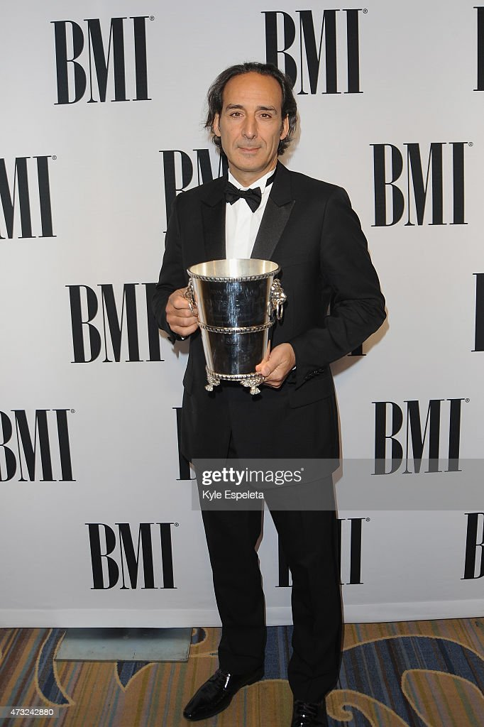 Honoree Alexandre Desplat poses with the BMI Icon Award during the 2015 BMI Film & Television Awards at the Beverly Wilshire Hotel on May 13, 2015 in Beverly Hills, California.