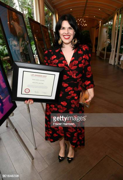Honoree Alexis Martin Woodall poses with award during 18th Annual AFI Awards at Four Seasons Hotel Los Angeles at Beverly Hills on January 5 2018 in...