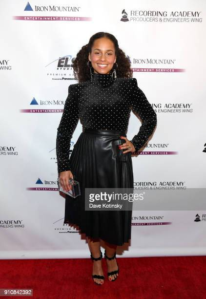 Honoree Alicia Keys attends the Producers and Engineers Wing 11th Annual GRAMMY Week Event Honoring Swizz Beatz And Alicia Keys at The Rainbow Room...