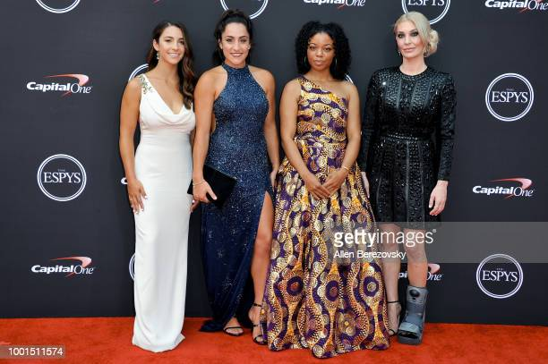 Honoree Aly Raisman gymnast Jordyn Wieber Tiffany Thomas Lopez and Sarah Klein attend The 2018 ESPYS at Microsoft Theater on July 18 2018 in Los...