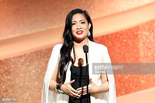 Honoree Amanda Nguyen speaks onstage during the Marie Claire Young Women's Honors presented by Clinique at Marina del Rey Marriott on November 19...