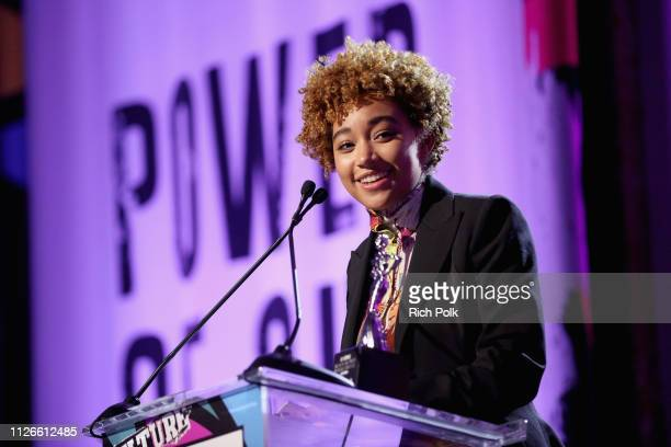 Honoree Amandla Stenberg speaks onstage during the 2019 Essence Black Women in Hollywood Awards Luncheon at Regent Beverly Wilshire Hotel on February...