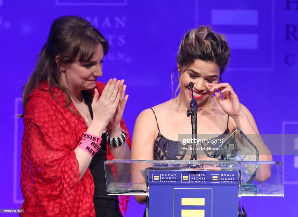 Honoree America Ferrera (R) accepts the HRC Ally for Equality Award from actor Lena Dunham onstage at The Human Rights Campaign 2017 Los Angeles Gala Dinner at JW Marriott Los Angeles at L.A. LIVE on March 18, 2017 in Los Angeles, California.