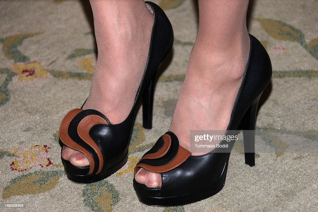 Honoree Amy Brenneman (shoes details) attends the Women of Distinction luncheon held at Beverly Hills Hotel on May 8, 2013 in Beverly Hills, California.