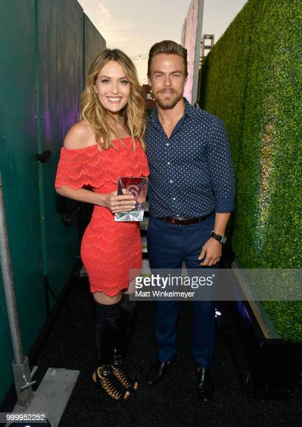 Honoree Amy Purdy and Derek Hough attend the 33rd Annual CedarsSinai Sports Spectacular at The Compound on July 15 2018 in Inglewood California