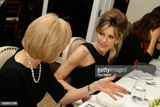 Honoree and Anchor Managing Editor of PBS Newshour Judy Woodruff and ELLE EditorinChief Robbie Myers attend ELLE and Bottega Veneta Women in...