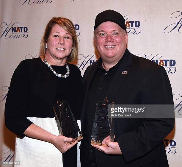 Honoree and CEO at Country Music Association Sarah Trahern and honoree and President/CEO at Webster PR Kirt Webster attend the NATD Honors Gala on...