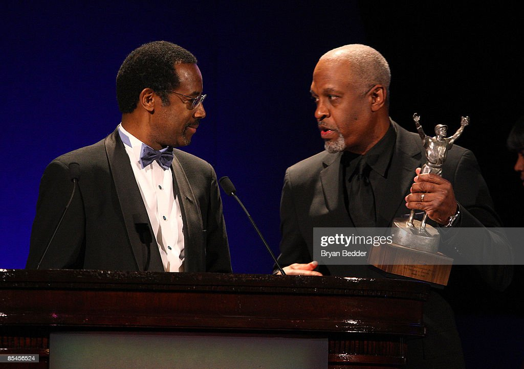 Honoree and Director of Pediatric Neurosurgery at Johns Hopkins University, Dr. Benjamin Carson Sr.is presented an award from actor James Pickens Jr. on stage during the Jackie Robinson Foundation Annual Awards Dinner Chaired by Air Products on March 16, 2009 in New York City.