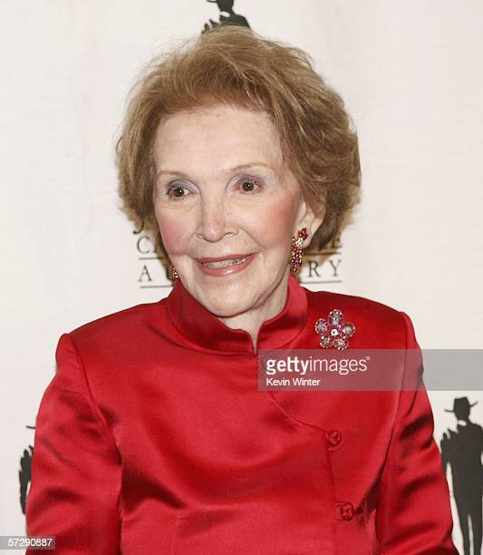Honoree and former First Lady Nancy Reagan poses at the John Wayne Cancer Institute Auxiliary's 21st Annual Odyssey Ball at the Beverly Hilton on...