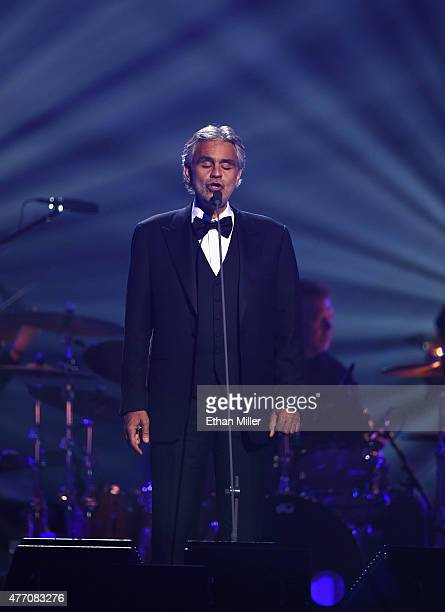 """Honoree Andrea Bocelli performs during the 19th annual Keep Memory Alive """"Power of Love Gala"""" benefit for the Cleveland Clinic Lou Ruvo Center for..."""