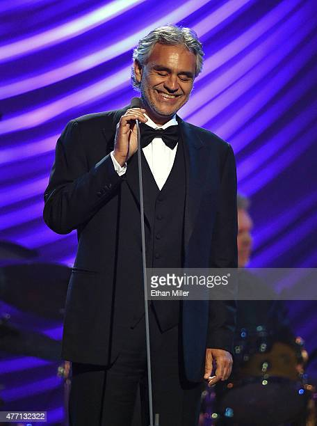 Honoree Andrea Bocelli performs during the 19th annual Keep Memory Alive 'Power of Love Gala' benefit for the Cleveland Clinic Lou Ruvo Center for...