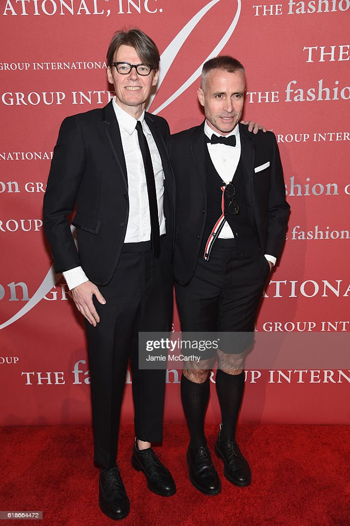 Honoree Andrew Bolton and designer Thom Browne attend 2016 Fashion Group International Night Of Stars Gala at Cipriani Wall Street on October 27, 2016 in New York City.