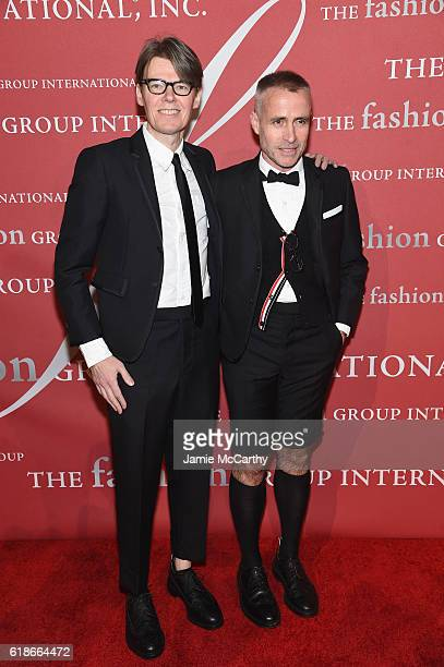 Honoree Andrew Bolton and designer Thom Browne attend 2016 Fashion Group International Night Of Stars Gala at Cipriani Wall Street on October 27,...