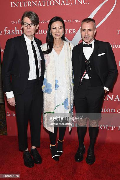 Honoree Andrew Bolton Wendi Murdoch and designer Thom Browne attend 2016 Fashion Group International Night Of Stars Gala at Cipriani Wall Street on...