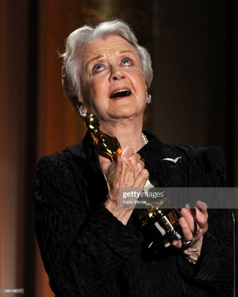 Honoree Angela Lansbury accepts honorary award onstage during the Academy of Motion Picture Arts and Sciences' Governors Awards at The Ray Dolby Ballroom at Hollywood & Highland Center on November 16, 2013 in Hollywood, California.