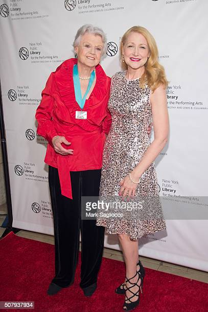 Honoree Angela Lansbury and Actress Patricia Clarkson attend the The New York Public Library For The Performing Arts' 50th Anniversary Gala at The...