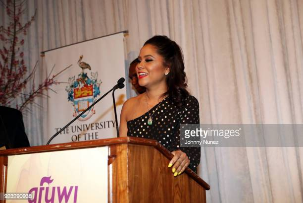 Honoree Angela Yee speaks onstage at the 2018 AFUWI Gala at The Pierre Hotel on February 22 2018 in New York City