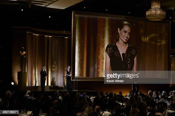 Honoree Angelina Jolie accepts the Jean Hersholt Humanitarian Award onstage during the Academy of Motion Picture Arts and Sciences' Governors Awards...