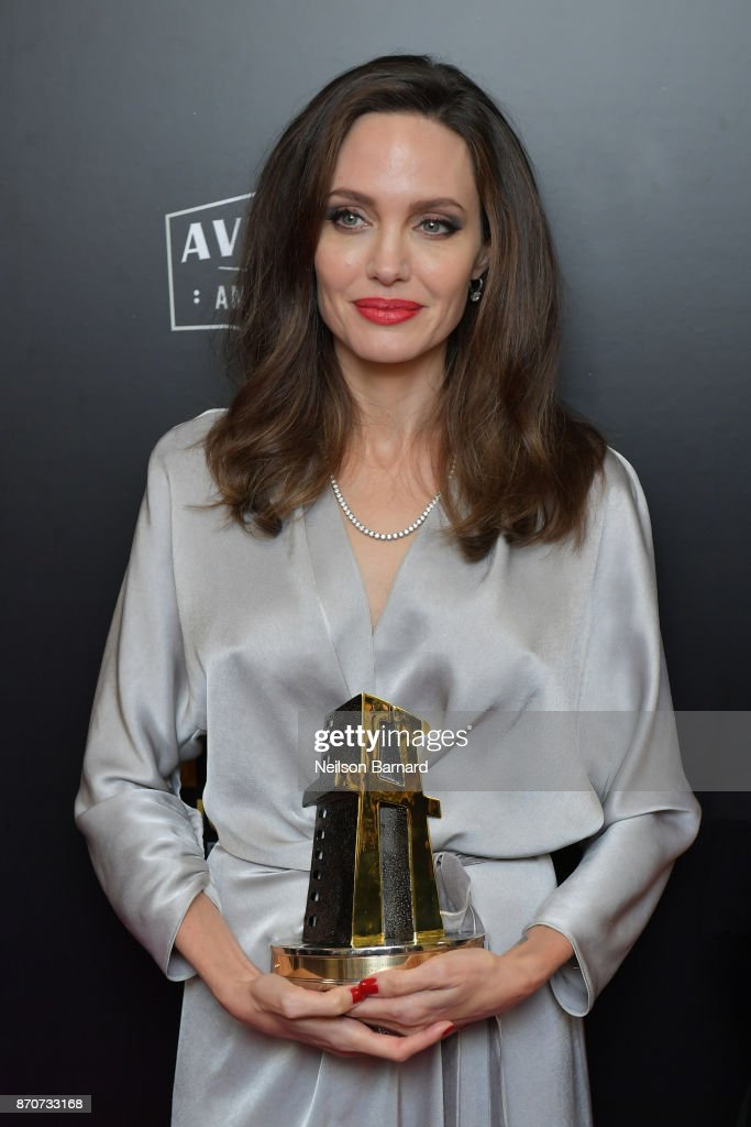 Honoree Angelina Jolie, co-recipient of the Hollywood Foreign Language Film Award for 'First They Killed My Father,' poses in the press room during the 21st Annual Hollywood Film Awards at The Beverly Hilton Hotel on November 5, 2017 in Beverly Hills, California.