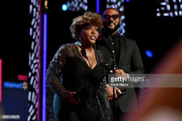 Honoree Anita Baker accepts the Lifetime Achievement Award onstage at the 2018 BET Awards at Microsoft Theater on June 24 2018 in Los Angeles...