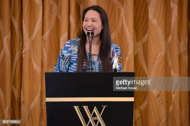 Honoree Annie Chang accepts The Distinguished Leadership Award onstage at the Advanced Imaging Society 2018 Lumiere Technology Awards Featuring The...